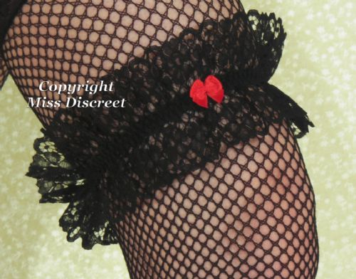 Fancy Frothy Lace Garter in Jet Black, Chilli Red, Ivory Cream, Baby Blue or Snow White